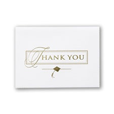 Gold Deluxe Graduation Thank You Card with Verse and Envelope